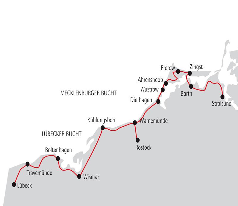 Ostseeradweg Lübeck Stralsund Karte.Ostsee Radweg Individuelle Radreise Mit Gepäcktransport